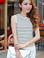 Women's Striped White Vest,Simple / Street chic Sleeveless