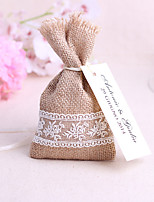 6 Piece/Set Jute Candy Favor Bags Burlap Lace Tableware Pouch Cutlery Holder Wedding Decoration Favors (16*9cm,no cards)