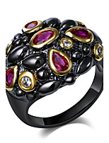 Two Round Cubic Zirconia Rose Red White18K Gold & Black Plated Party cocktail Rings for women Wedding Ring