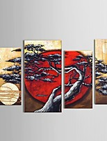Hand-painted Abstract Moon Tree Swing Scenery Oil Painting Restaurant Decor with Stretched Frame