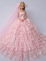 Poupée Barbie-Rose-Mariage-Robes- enSatin / Dentelle