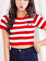 Women's Striped Blue /Red /Black /Gray T-shirt,Street chic High Waist Exposed navel Slim Short Sleeve Cotton/Spandex