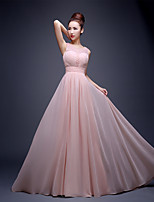 Formal Evening Dress A-line Jewel Sweep / Brush Train Chiffon / Lace with Beading / Lace / Sequins
