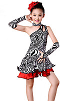 Latin Dance Dresses Children's Performance Spandex / Polyester Zebra Print Off Shoulder Dance Costumes