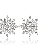Hollow Snowflake High-grade Silver Gull Diamond Earrings