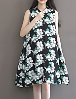Women's Casual/Daily / Plus Size Simple Loose Dress,Print Shirt Collar Asymmetrical Sleeveless Black Polyester Summer