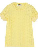 Girl's Yellow Tee,Jacquard Cotton Summer