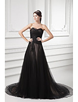 Formal Evening Dress A-line Sweetheart Court Train Tulle with Appliques / Beading / Pleats