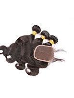 onda brasileña virginal del cuerpo del pelo con closure3 mechones de cabello humano con cierre pelo virginal brasileño con cierre