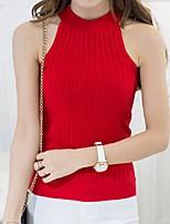 Women's Solid Red / White / Black / Gray / Green / Yellow Vest,Street chic Sleeveless