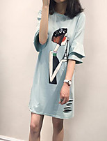 Women's Casual/Daily / Plus Size Street chic Loose Dress,Print Round Neck Above Knee ½ Length Sleeve Blue / Pink Polyester Summer