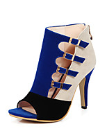 Heels Spring Summer Fall Club Shoes Fleece Office & Career Party & Evening Dress Stiletto Heel Buckle Black Blue Red