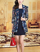 Women's Casual/Daily / Plus Size Street chic Sheath Dress,Print Shirt Collar Above Knee ¾ Sleeve Blue Polyester Summer