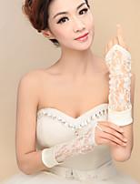Elbow Length Fingerless Glove Satin / Lace / Elastic Satin Bridal Gloves / Party/ Evening Gloves