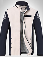 Men's Long Sleeve Jacket,Cotton / Acrylic / Polyester Casual  / Patchwork 916175