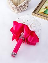 Bouquets de Noiva Redondo Rosas Buquês Casamento / Festa / noite Azul / Fúcsia / Rosa / Vermelho / Verde / Branco / RoxoCetim / Espuma /