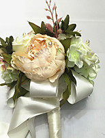 Bouquets de Noiva Redondo / Forma-Livre Rosas / Lírios Buquês Casamento Beje Cetim / Enfeite / Papél / Flôr Seca 9.06