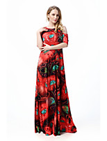 Women's L-6XL Boho Floral Swing Dress,Round Neck Maxi Polyester