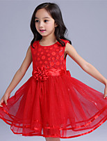 Girl's Pink / Red Dress,Floral Cotton / Polyester Summer / Spring