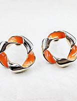 Simple Style Orange Twisted Ring Twisted Lady Earrings