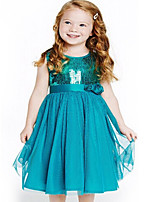 Girl's Blue Dress,Solid Polyester Summer