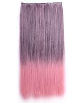 ombre Apliques de cabelo sintético perruque cabelo natural peruca grampo de cabelo sintético em linha reta em extensões do cabelo