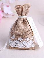 6 Piece/Set Jute Candy Favor Bags Burlap Lace Tableware Pouch Cutlery Holder Wedding Decoration Favors (16*9cm,no cards)