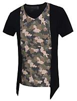 Patchwork -Informeel / Werk / Formeel / Sport-Heren-Katoen-T-shirt-Korte mouw Blauw / Bruin