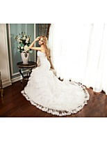 Trumpet/Mermaid Wedding Dress-White Chapel Train Sweetheart Tulle