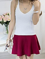 Women's Solid Pink / Red / White / Black / Gray / Yellow Vest,Street chic Sleeveless