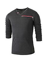 Men's Fashion Zipper Decoration Slim Fit Long Sleeve T-Shirt, Cotton /Polyester