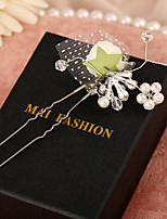 Women's Imitation Pearl / Fabric Headpiece-Wedding / Special Occasion Hair Pin 1 Piece