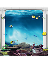 JAMMORY Art Deco Wallpaper Contemporary Wall Covering,Canvas Stereoscopic Large Mural Deep Sea Beautiful Landscape