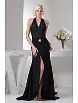 Formal Evening Dress-Black Sheath/Column Halter Court Train Chiffon / Lace