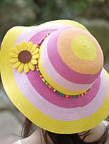 Women Flower Sunflowers Decorate Beads Striped Outdoor Travel Straw Hat