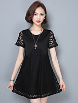 2016 Summer New Women's Loose Hook Flower Hollow Lace Short-Sleeved Retro Dress