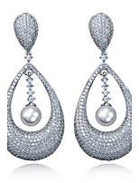 Simple Enthusiasm Style Earrings New Fashion 18K Gold and Platinum Plated Cubic Zirconia Imitation Pearls Drop Earring