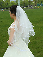 Wedding Veil Two-tier Fingertip Veils Ribbon Edge Tulle White White