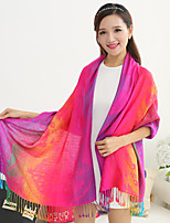 Ms National Wind Long Fringed Shawls Spend Jacquard Warm Colorful Rainbow-colored Feathers Scarves