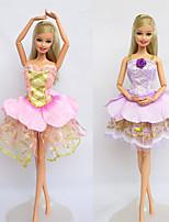 Poupée Barbie-Violet / Rose-Informel-Robes- enSatin / Dentelle