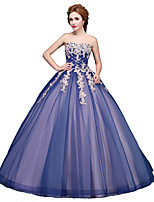 Formal Evening Dress Ball Gown Strapless Floor-length Tulle with Appliques
