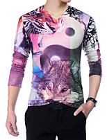 Men's Chinese Style 3D Wolf Print V Collar Slim Fit Long Sleeve T-Shirt, Cotton/Casual / Plus Sizes