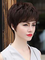simple, courte ligne droite main remy de cheveux humains naturels élégant attaché top perruques de femme