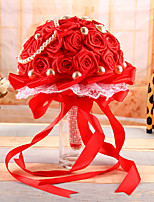 Wedding Flowers Round Roses Bouquets Wedding Red Satin 7.09