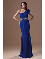 Formal Evening Dress Trumpet / Mermaid One Shoulder Floor-length Chiffon with Beading / Bow(s) / Crystal Detailing / Side Draping