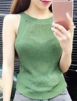 Women's Solid Blue / Red / White / Beige / Black / Gray / Green / Orange / Yellow Vest,Street chic Sleeveless