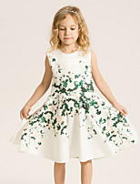 Girl's Casual/Daily Print Dress,Cotton / Polyester Summer / Spring White