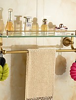 Bathroom Shelves, Antique Brass-Plated finishing Wall Mounted Glass Shelf,Bathroom Accessory