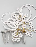 Femme / Jeune bouquetière Alliage / Imitation de perle Casque-Mariage / Occasion spéciale Peigne 1 Pièce Ivoire Rond