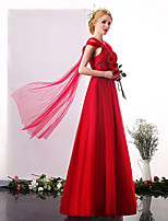 Formal Evening Dress A-line V-neck Floor-length Tulle with